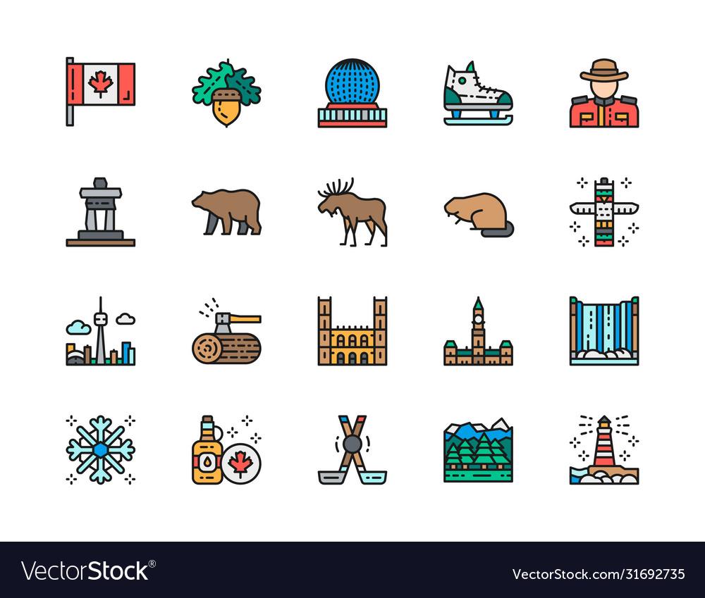 Set canadian culture color line icons sports