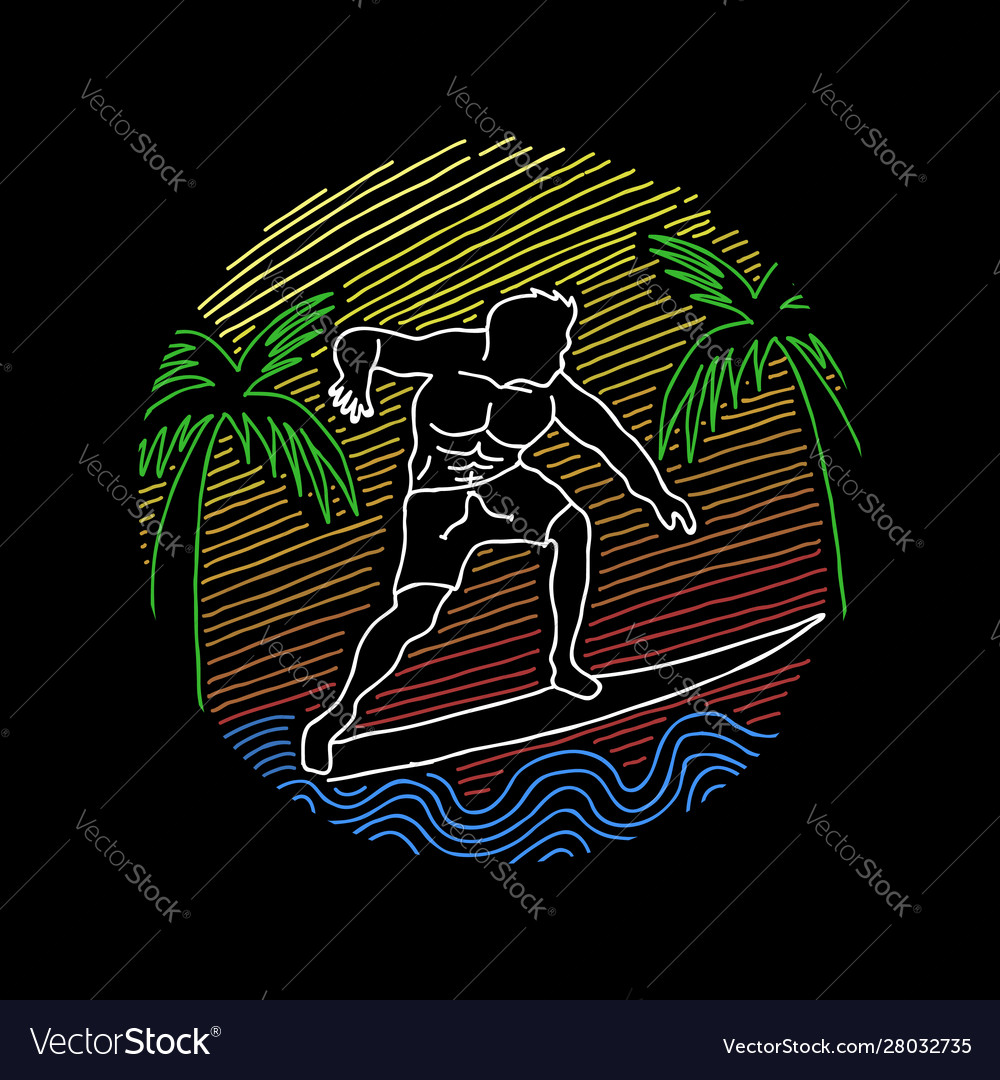Surfing line art
