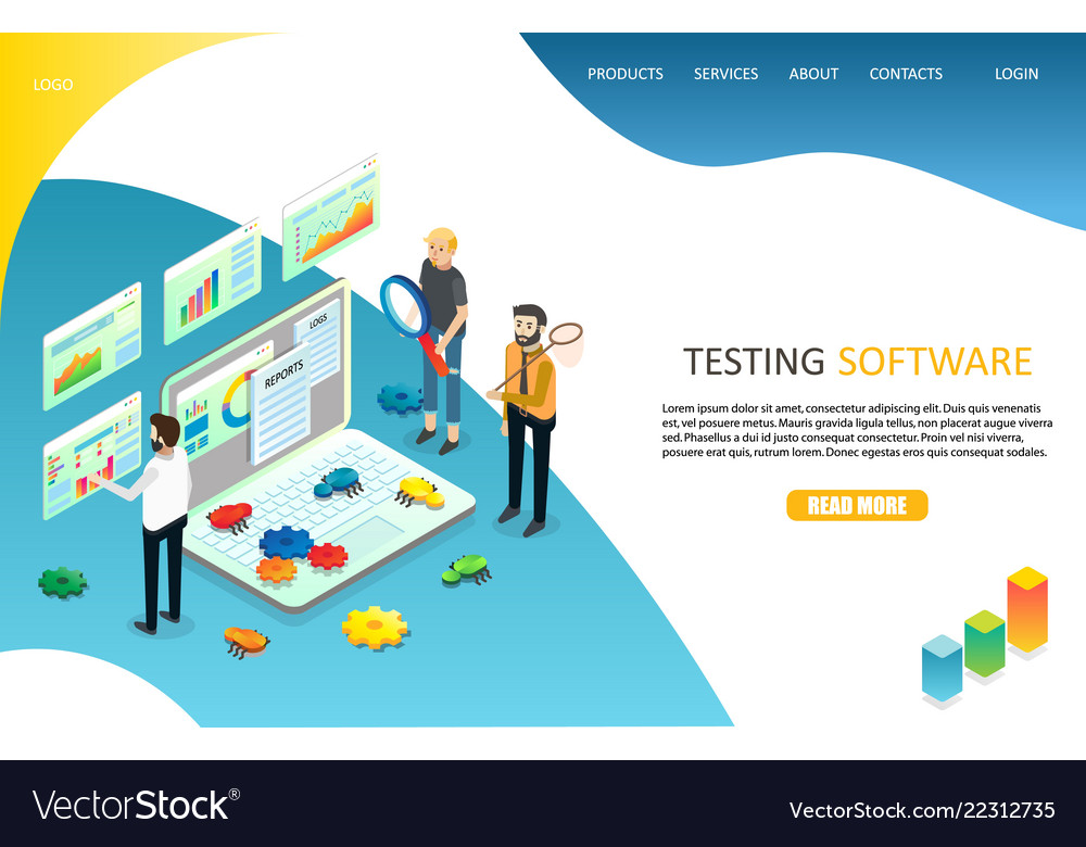 Testing software landing page website
