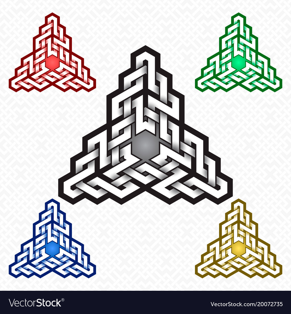 Triangular Logo Template In Celtic Knots Style Vector Image
