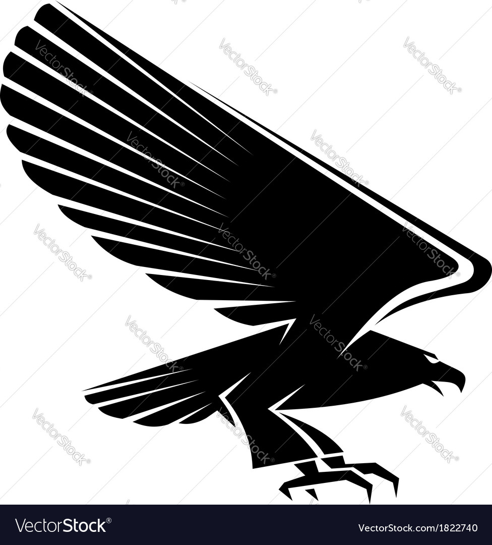 Black eagle tattoo vector image