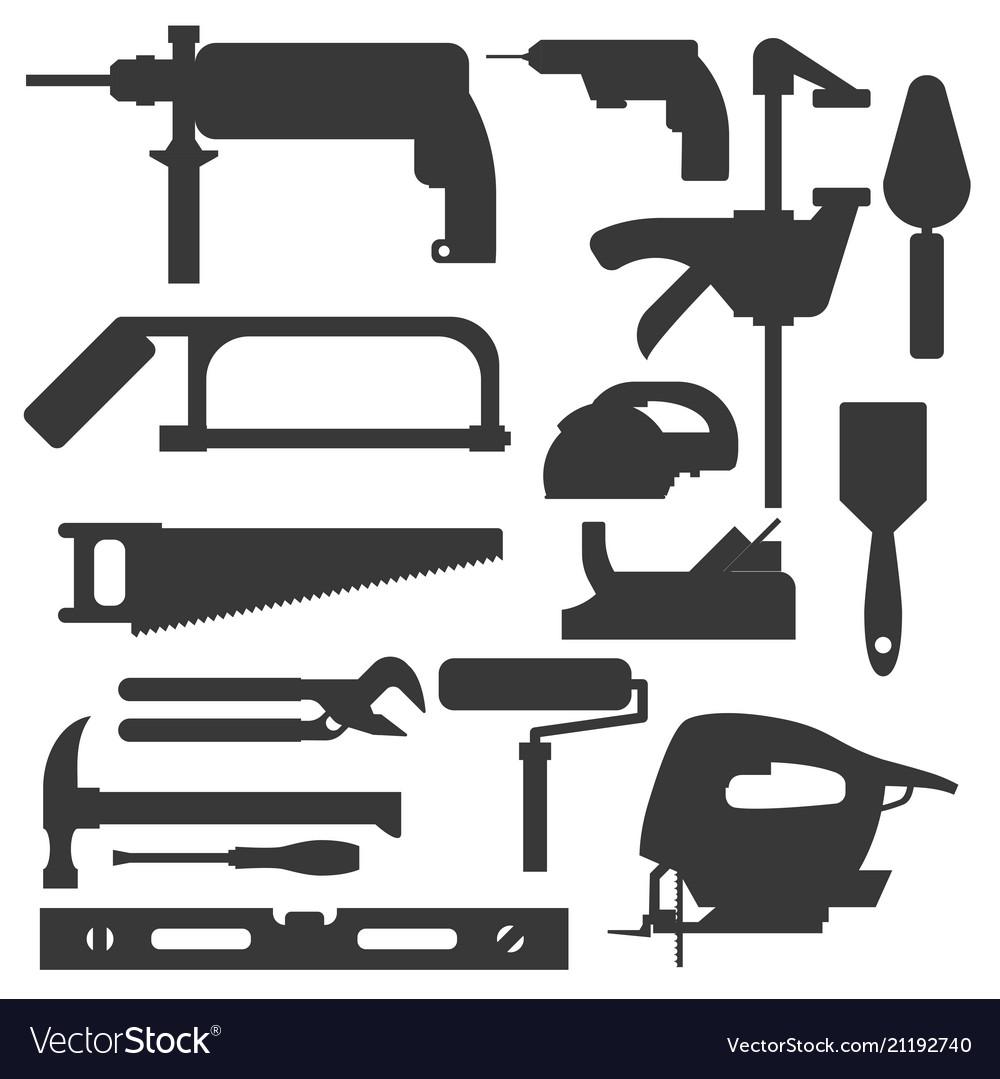 Construction building tools silhouette carpenter
