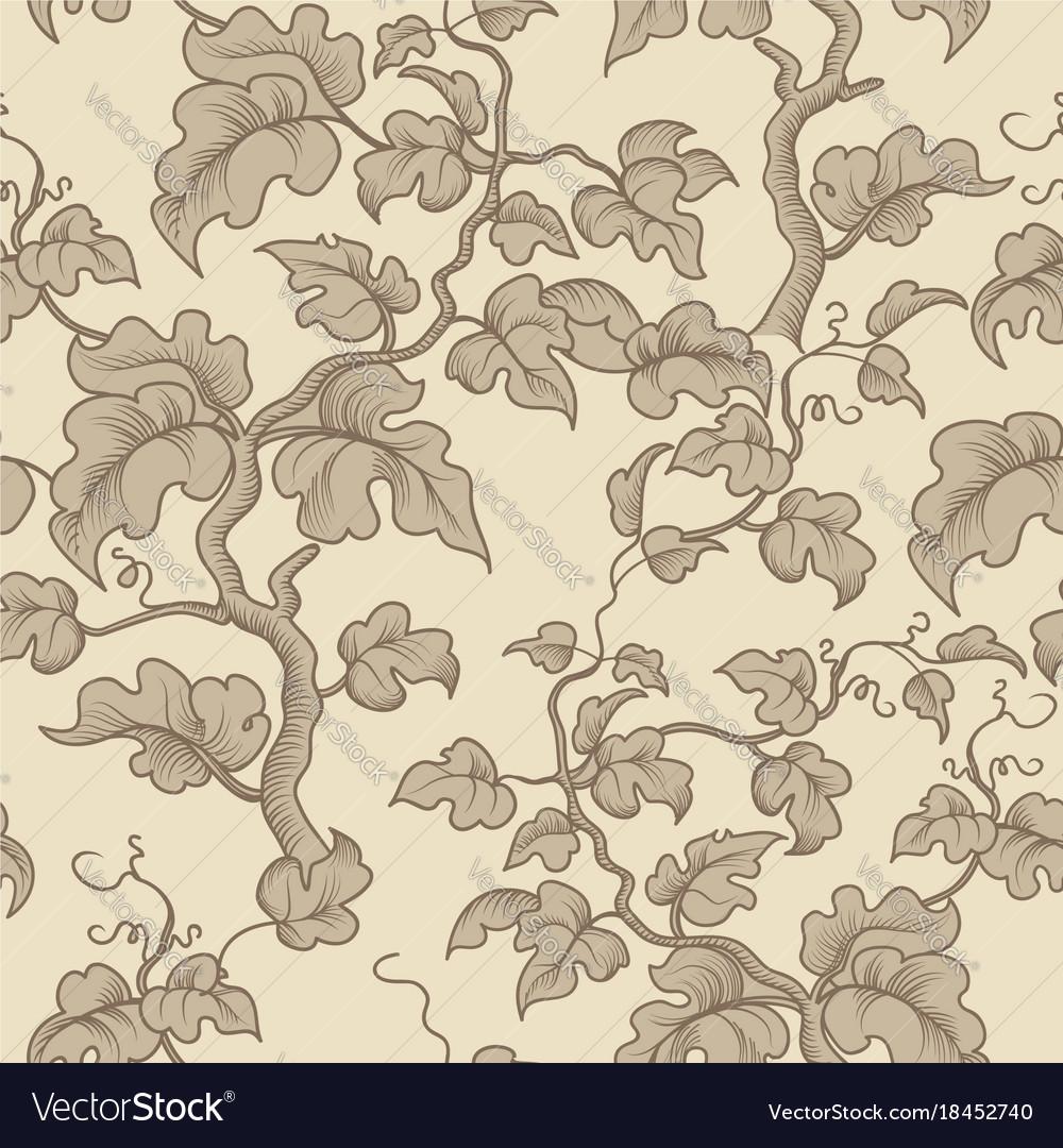 Floral seamless pattern garden plant branch