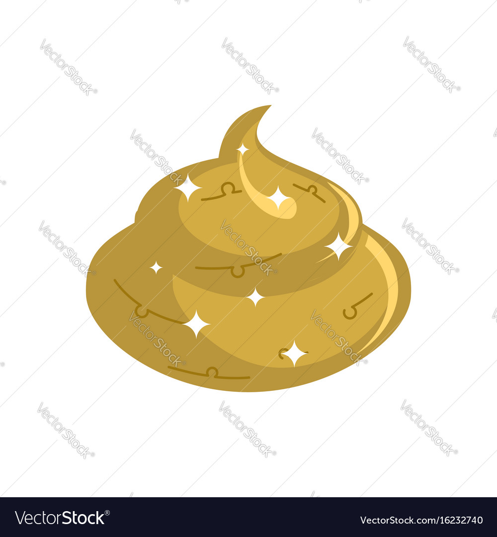 Gold shit isolated expensive turd poop golden vector image