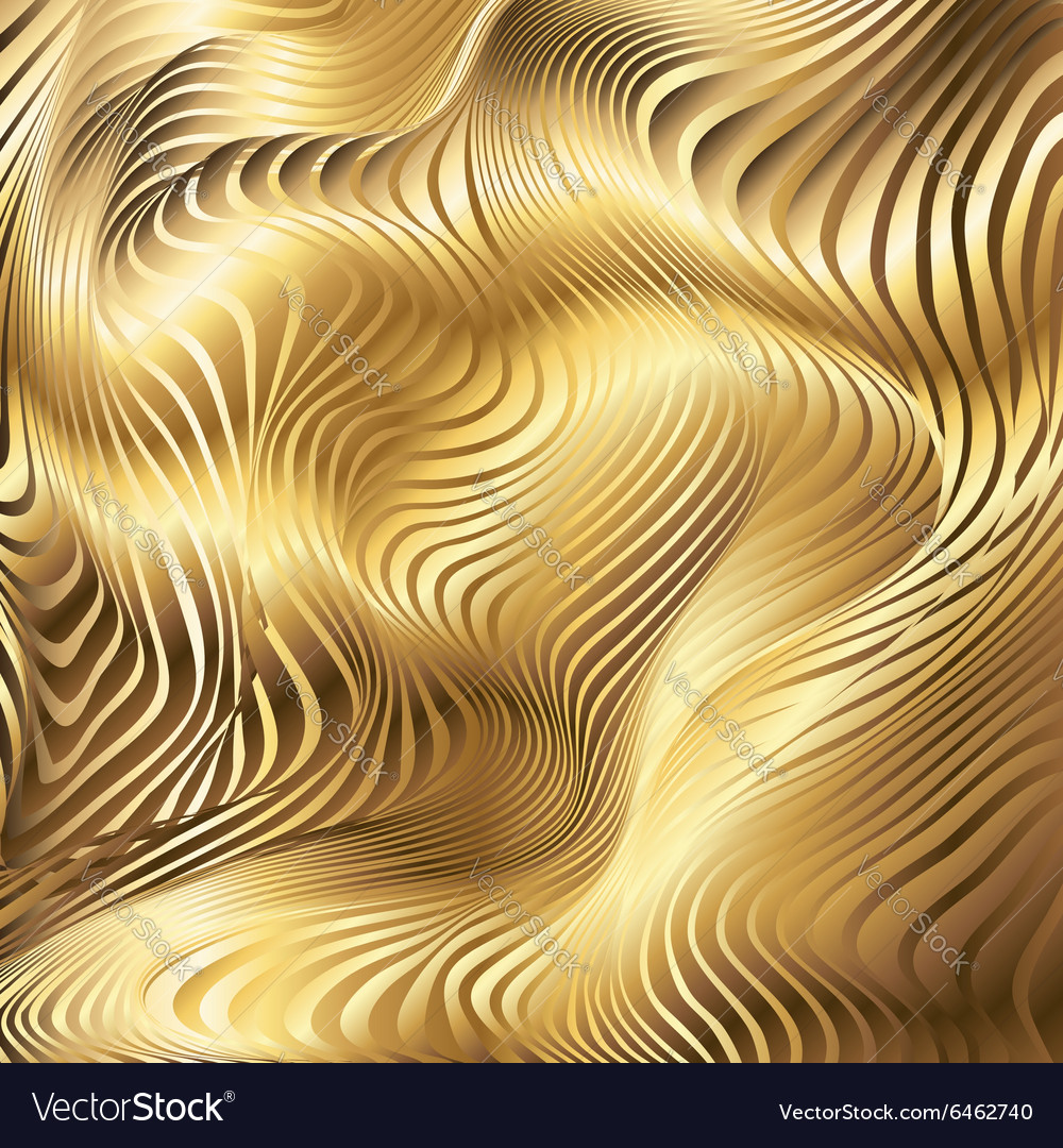 Golden striped waves abstract background
