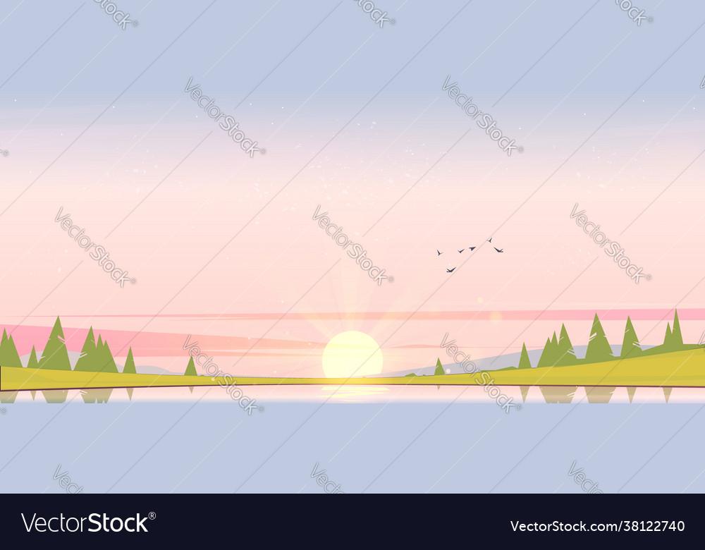 Sunrise landscape with lake and trees