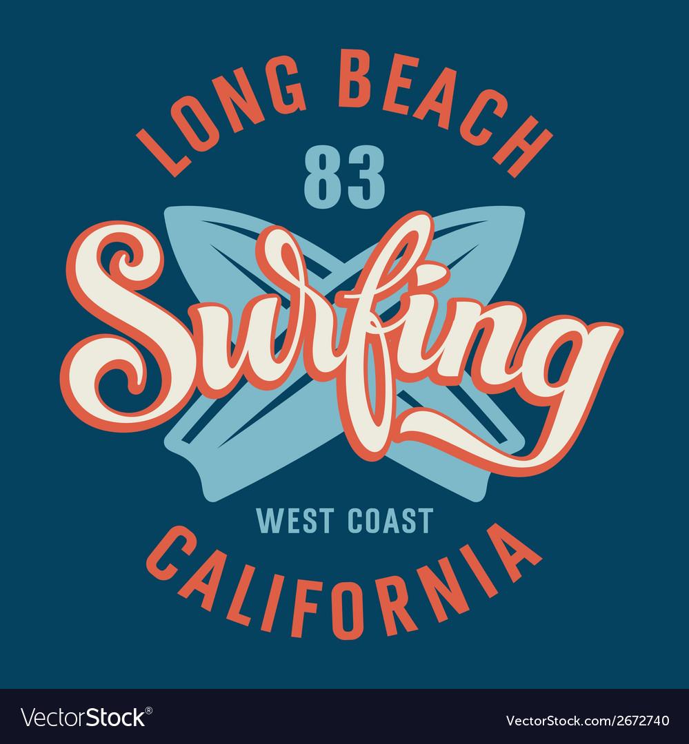 Surfing California vector image