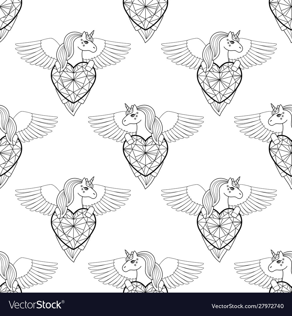 Unicorn with heart and wings seamless