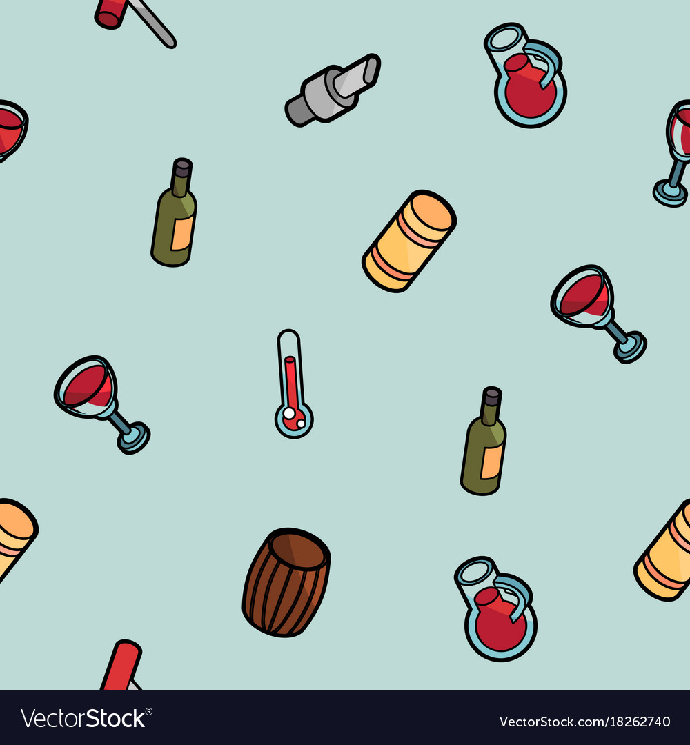 Wine outline color isometric pattern