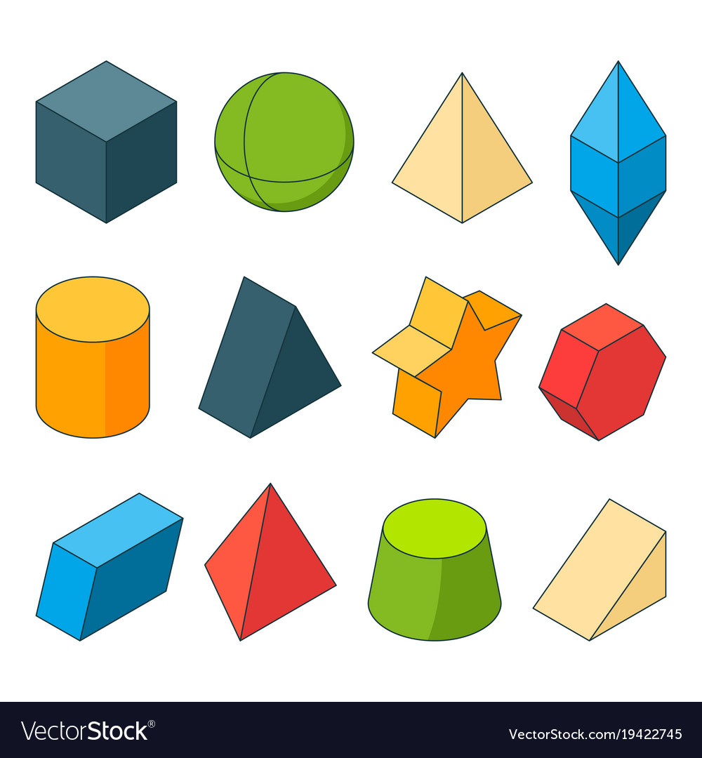 3d model of geometry shapes colored pictures sets vector image