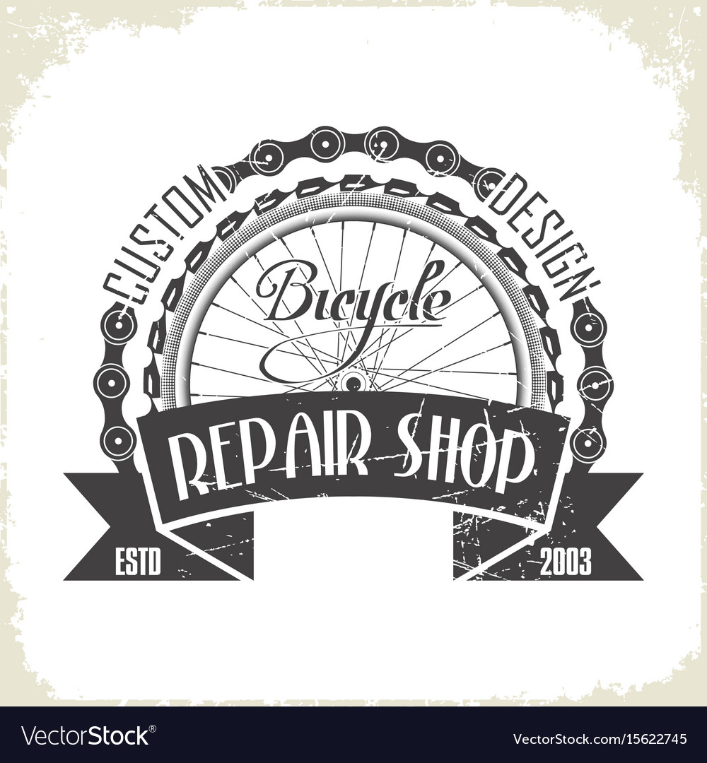 Bicycles repair shop monochrome logo