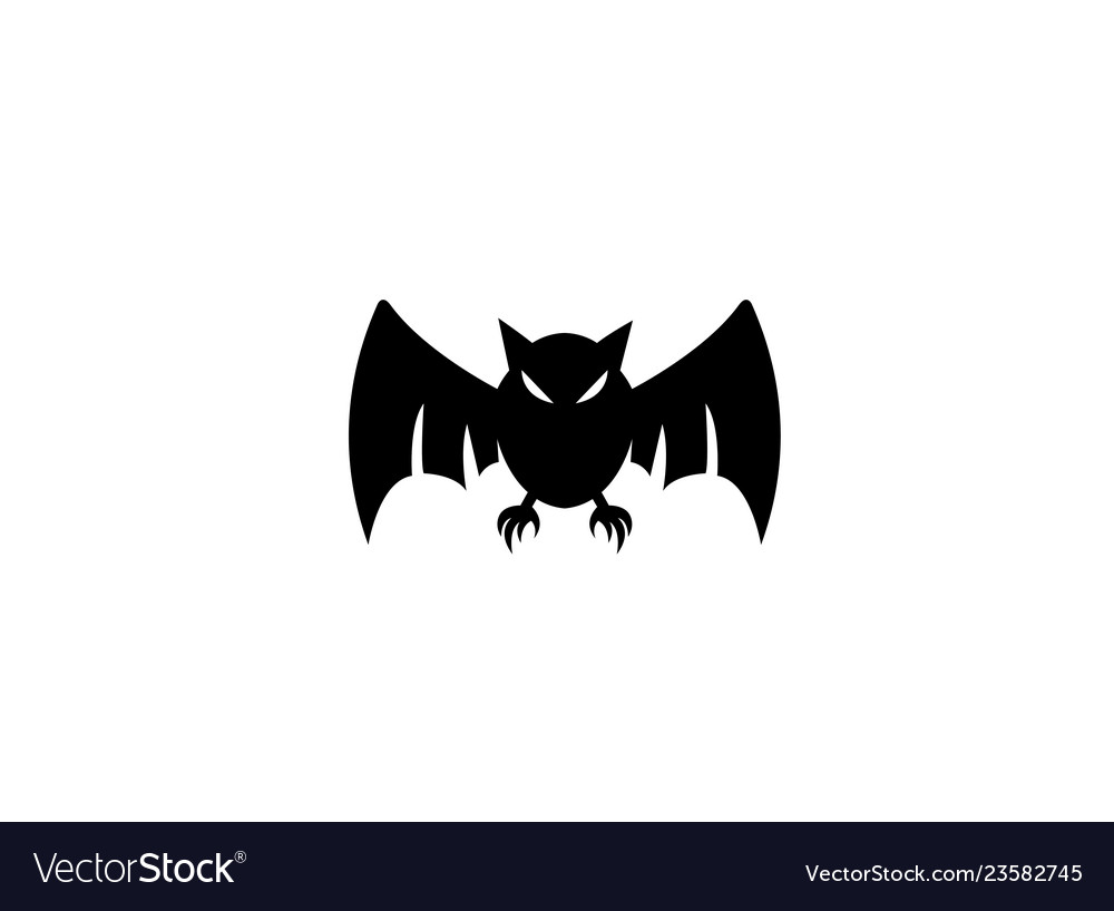 Black bat with angry face open wings fly