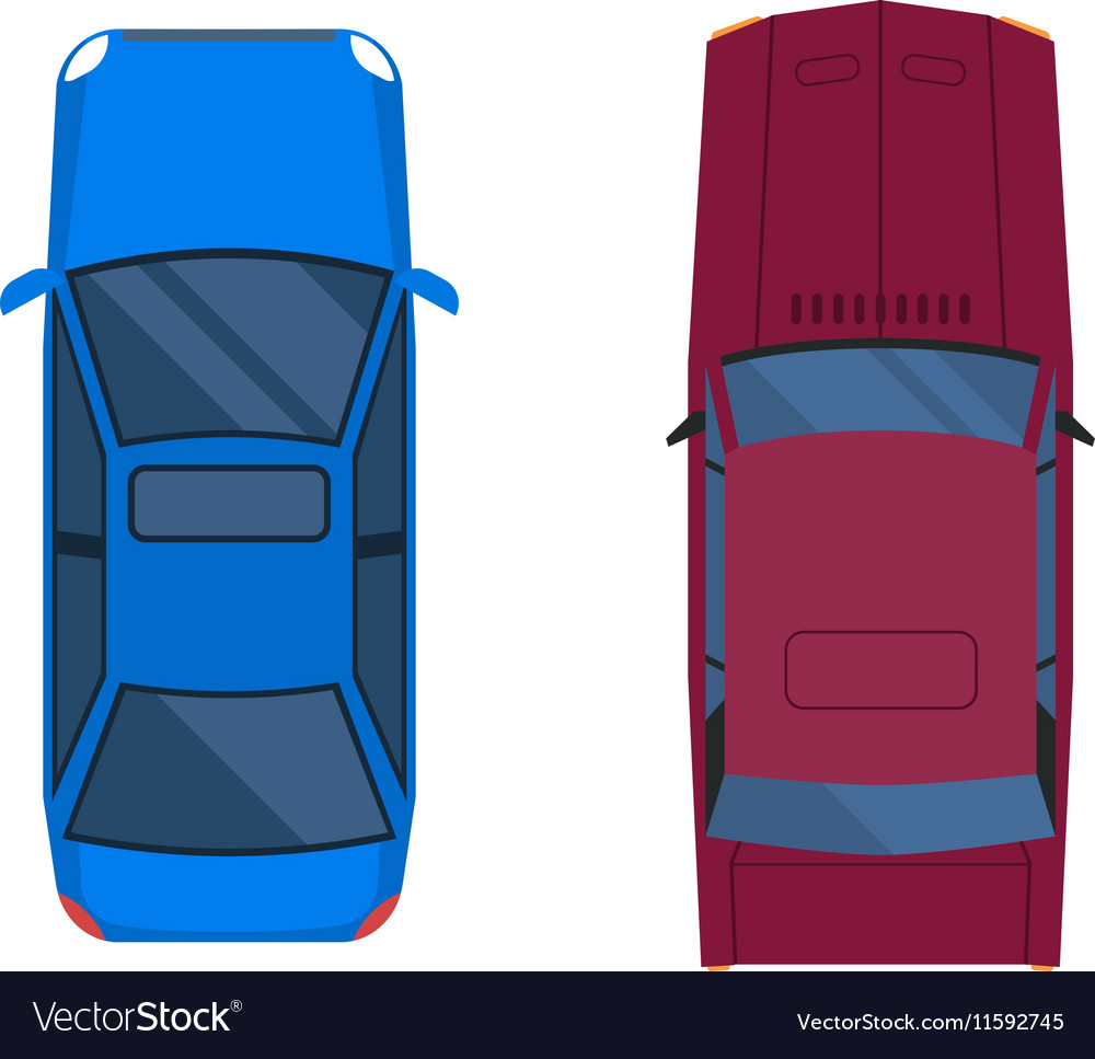Car top view isolated