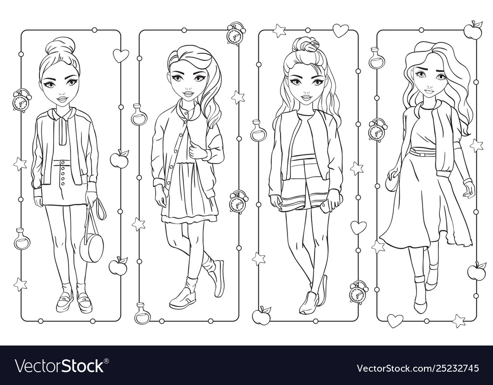 Coloring book of students girls in school uniform