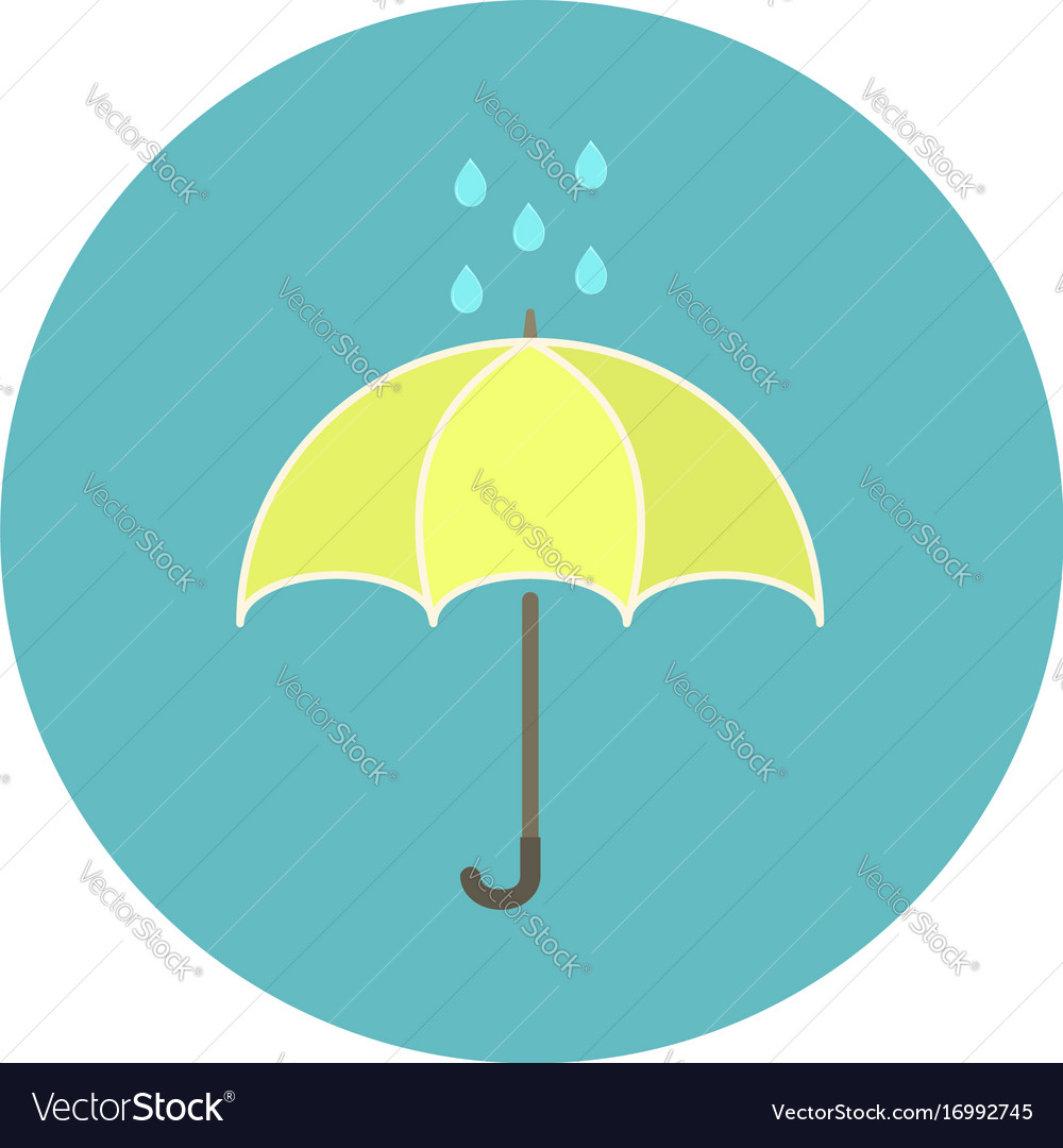 Cute flat yellow umbrella icon with rain drops
