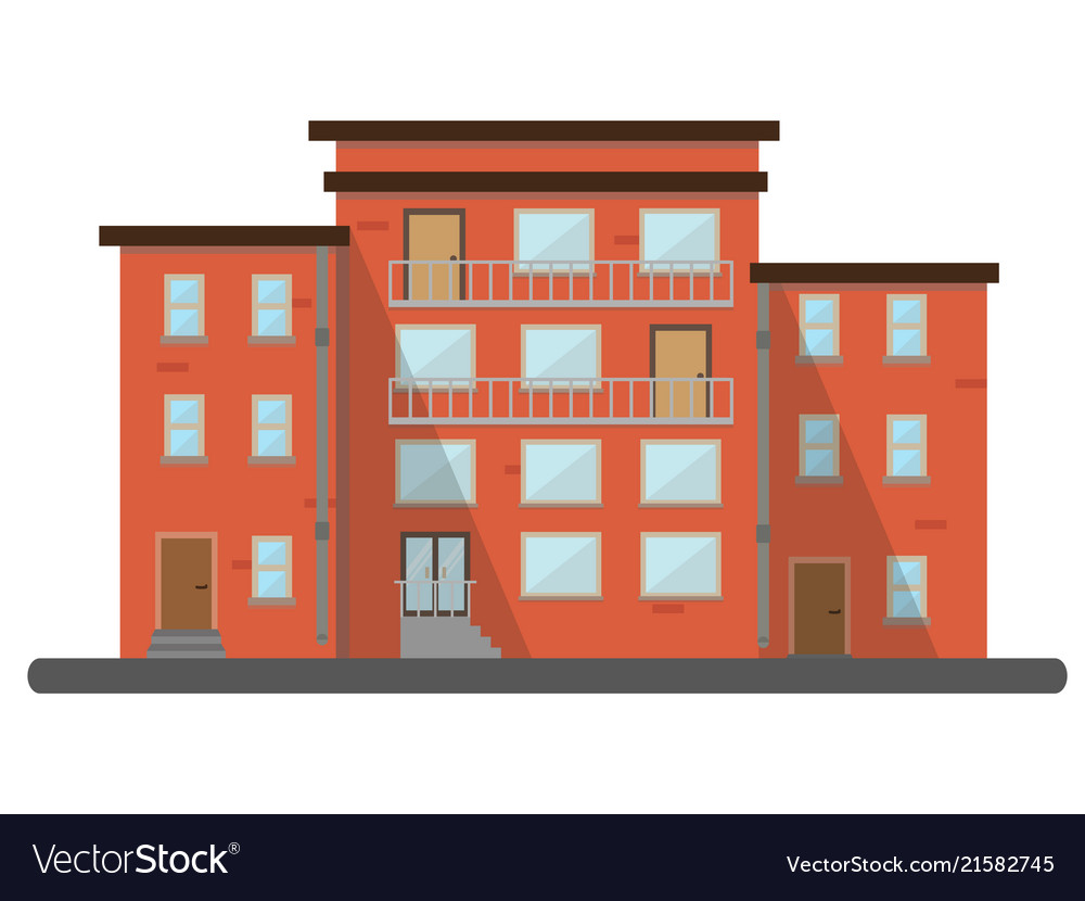 Flat buildings residential brick house city