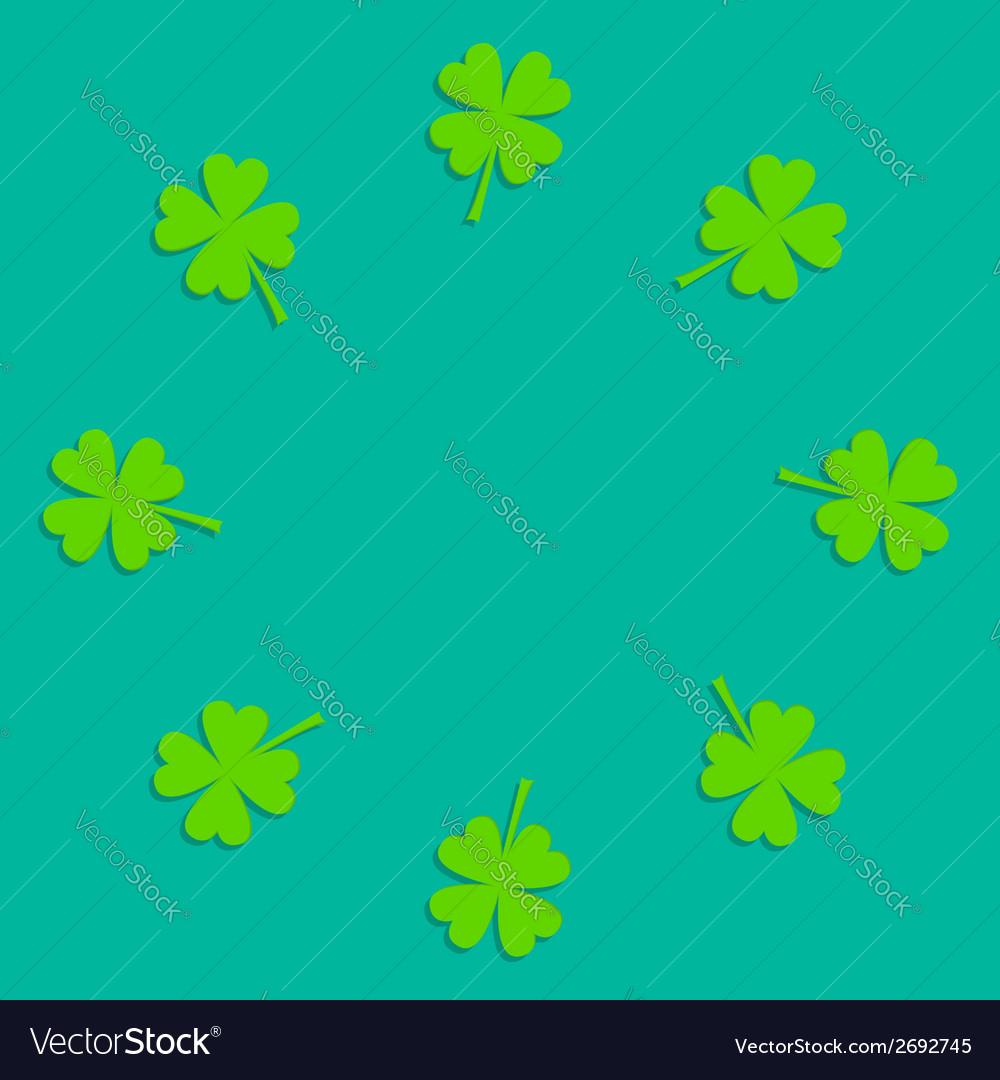 Four leaf clover round frame Empty Flat design
