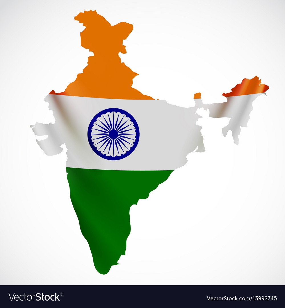 India Map Flag.Hanging India Flag In Form Of Map Republic Of Vector Image