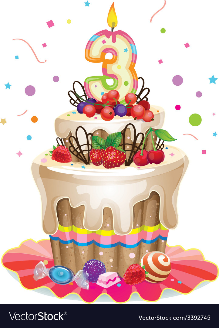 Happy Birthday cake 3 vector image