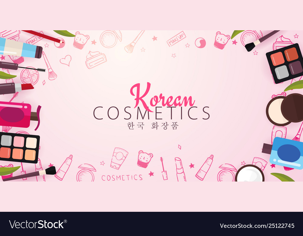 Korean Flat Cosmetics K Beauty Banner With Hand Vector Image