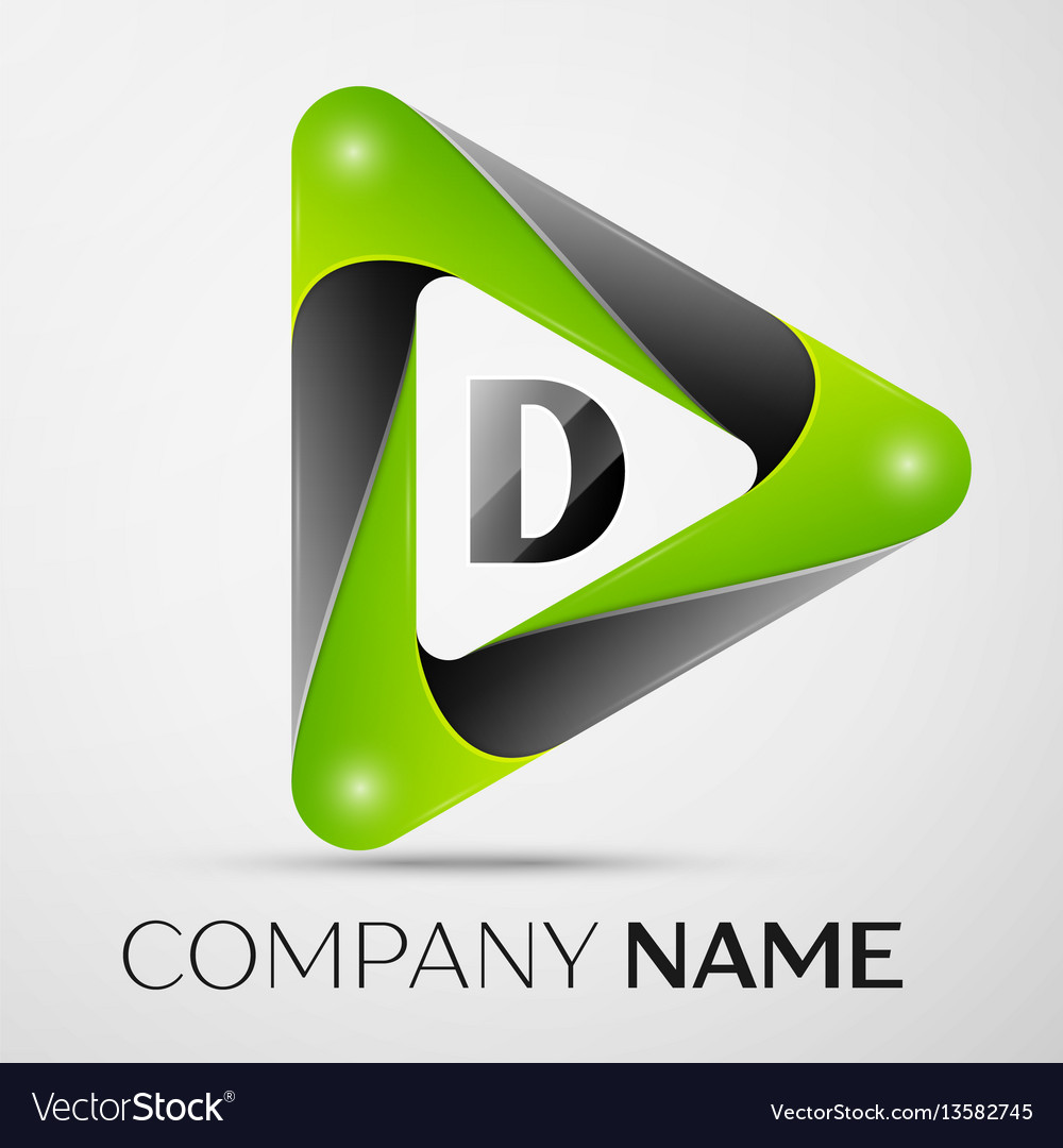 Letter d logo symbol in the colorful triangle on
