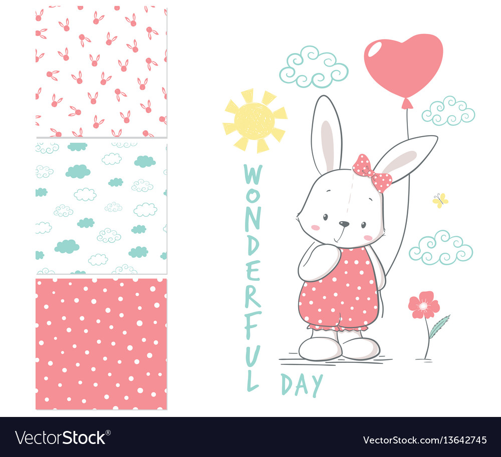 Little rabbit with balloon surface design