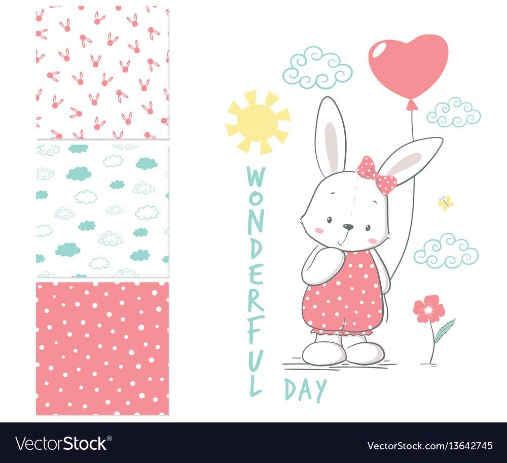 Little rabbit with balloon surface design vector image