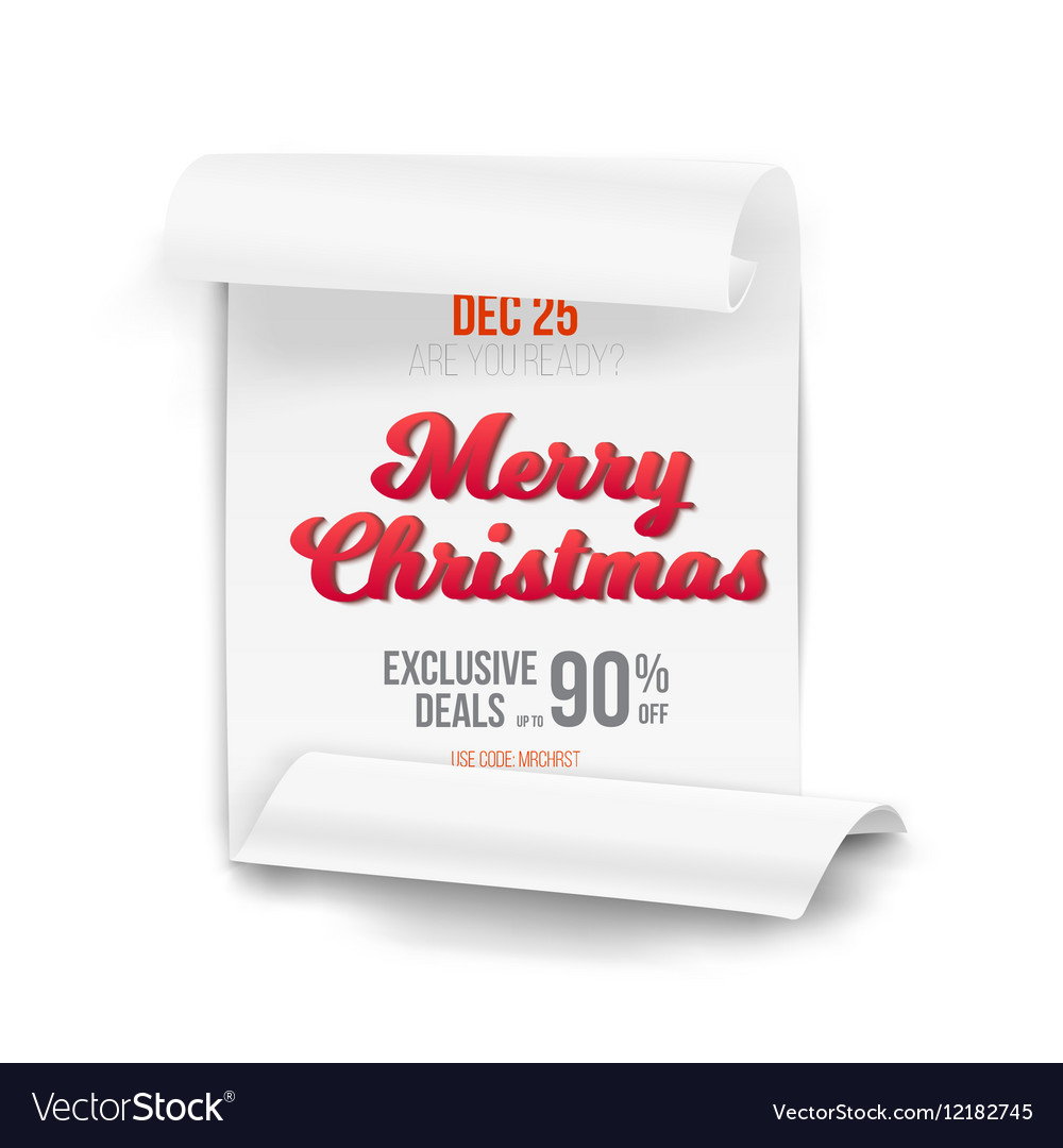 marry christmas scroll banner template royalty free vector