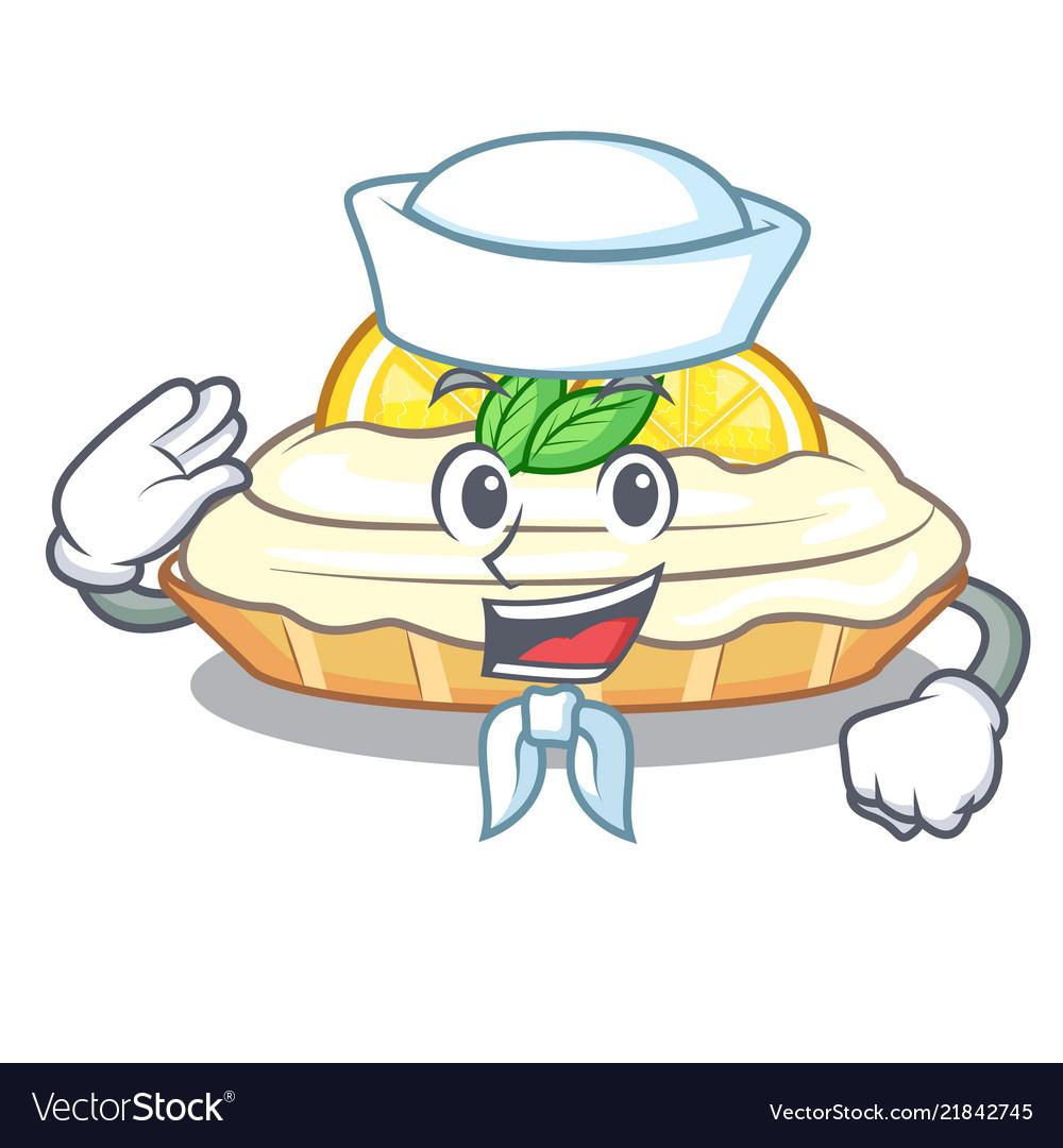 Sailor Cartoon Lemon Cake With Sugar Powder Vector Image