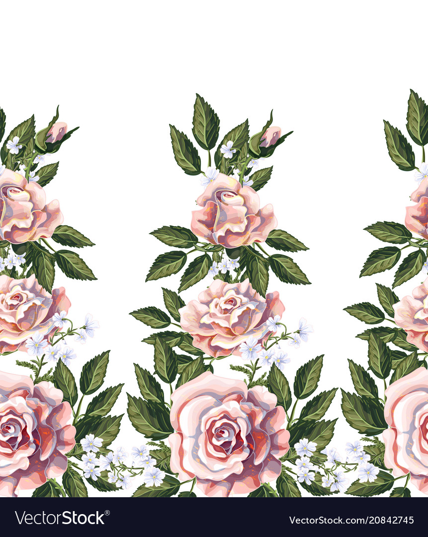 Seamless border with pink roses leaves