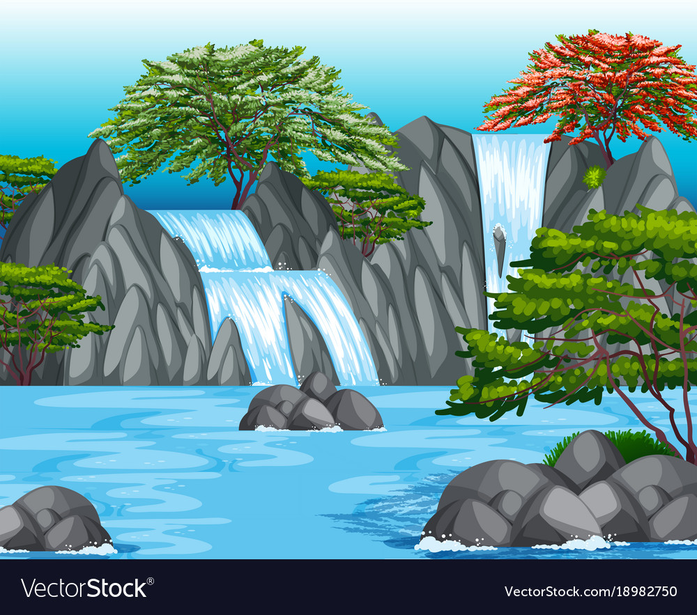 background scene with waterfall and trees vector image