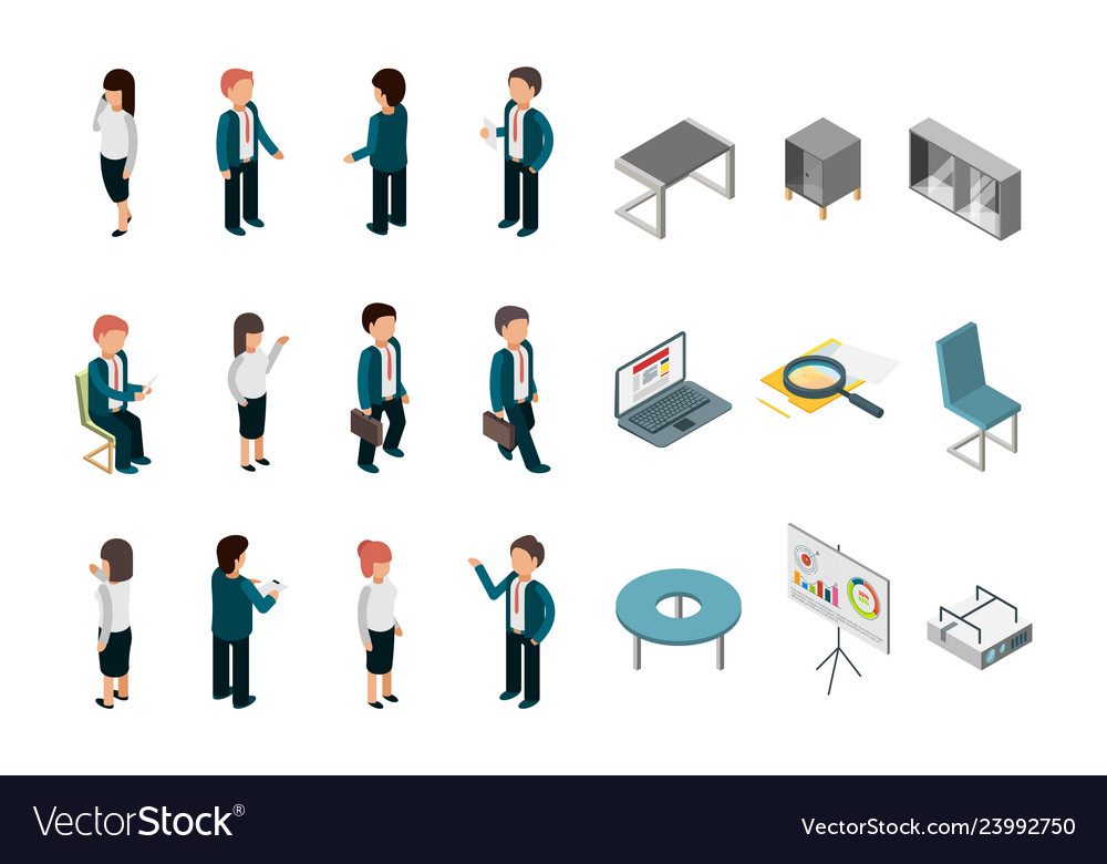 Business people isometric office corporate