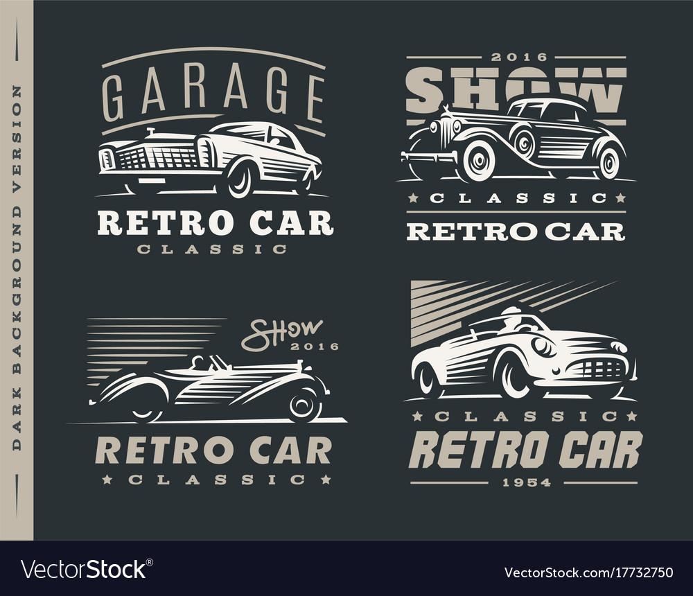 Classic car set on dark background