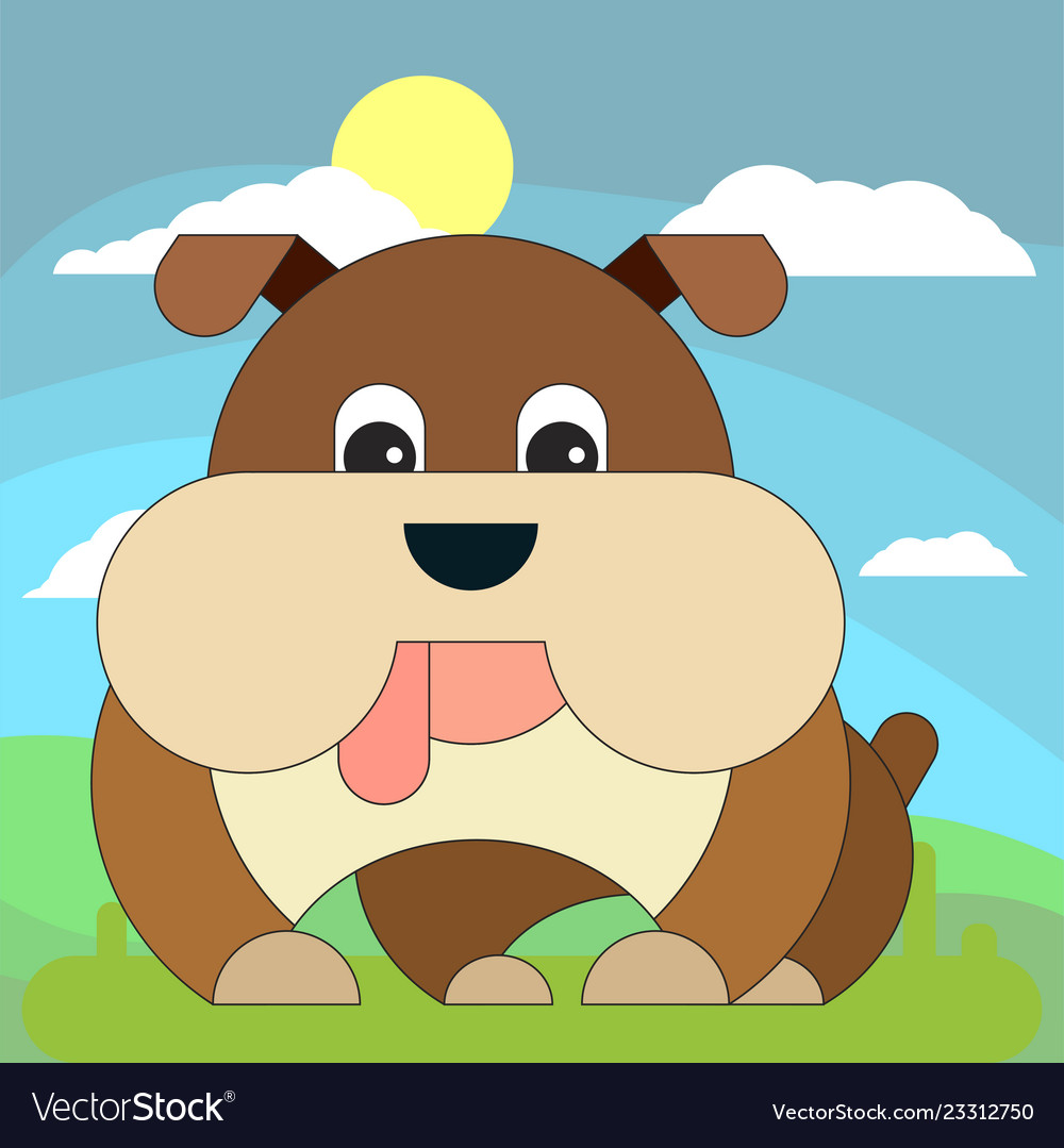 Dog in cartoon flat style on the background of
