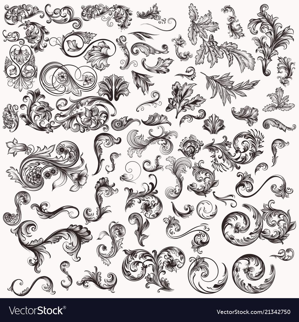 Huge set of hand drawn swirls for design