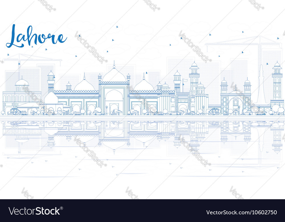 Outline Lahore Skyline with Blue Landmarks vector image