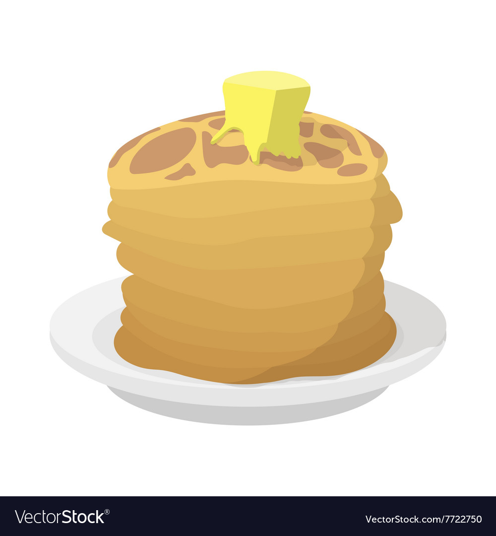 Roasted pancakes with butter icon cartoon style