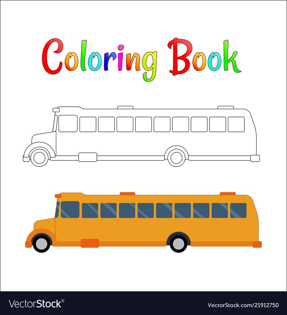 School bus coloring page back to school concept
