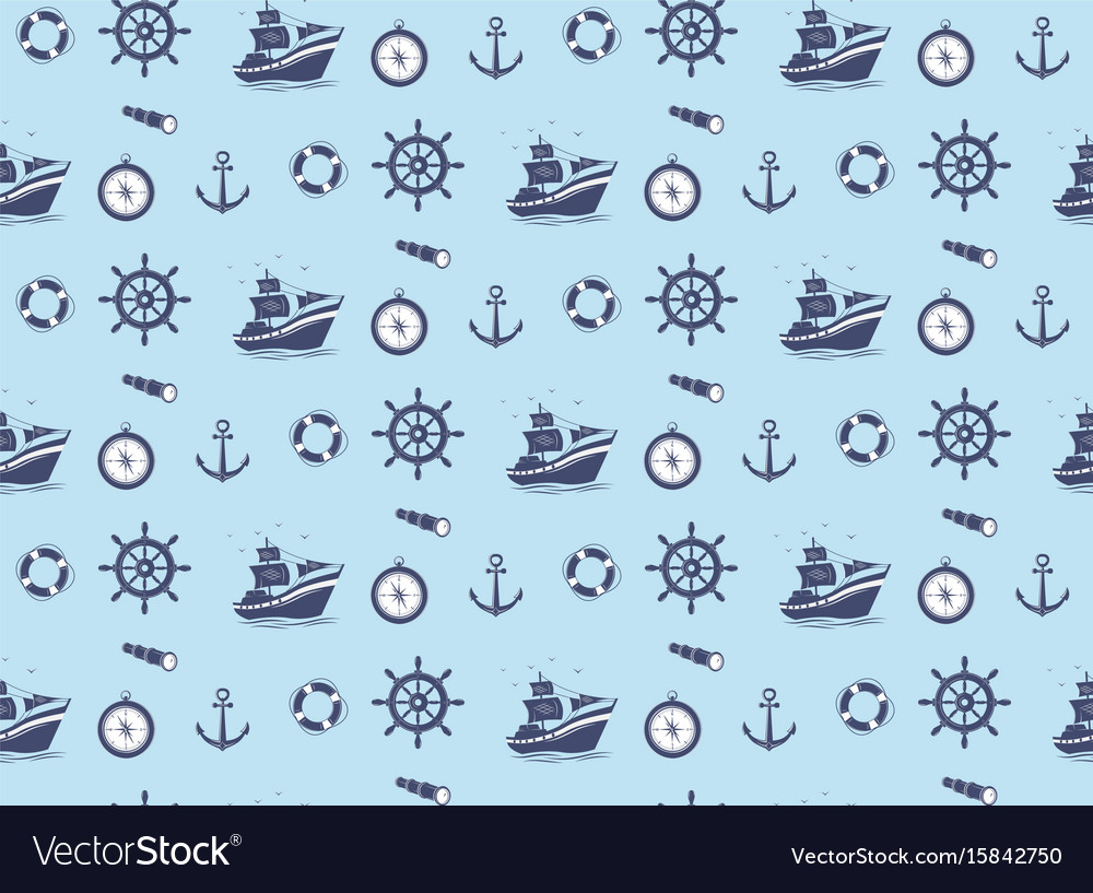 Seamless pattern - marine theme vector image