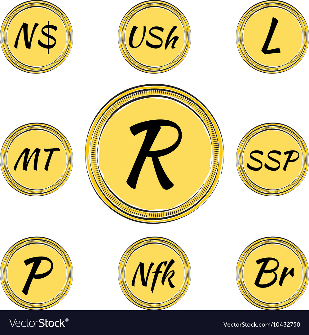 Set With South African Currency Symbols Royalty Free Vector