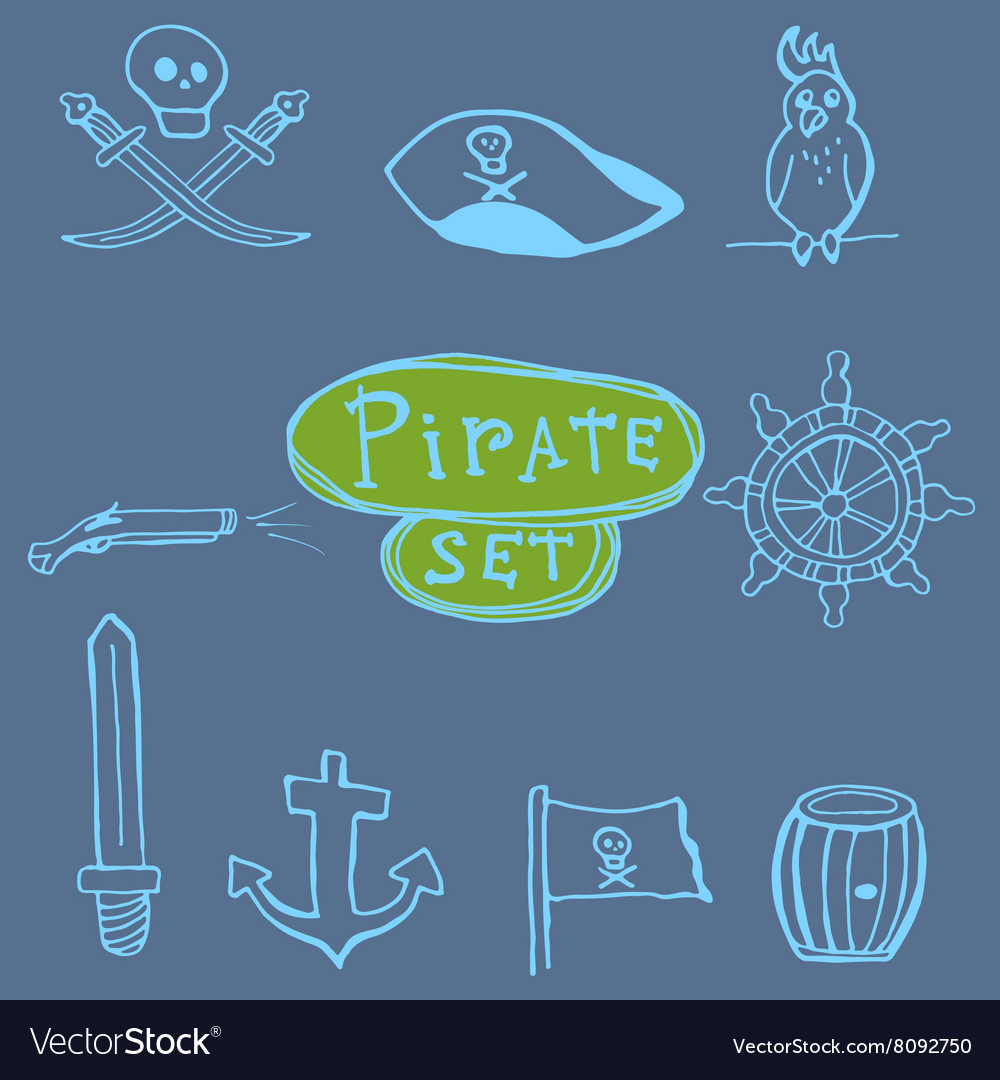 Sketch pirates set Hand drawn