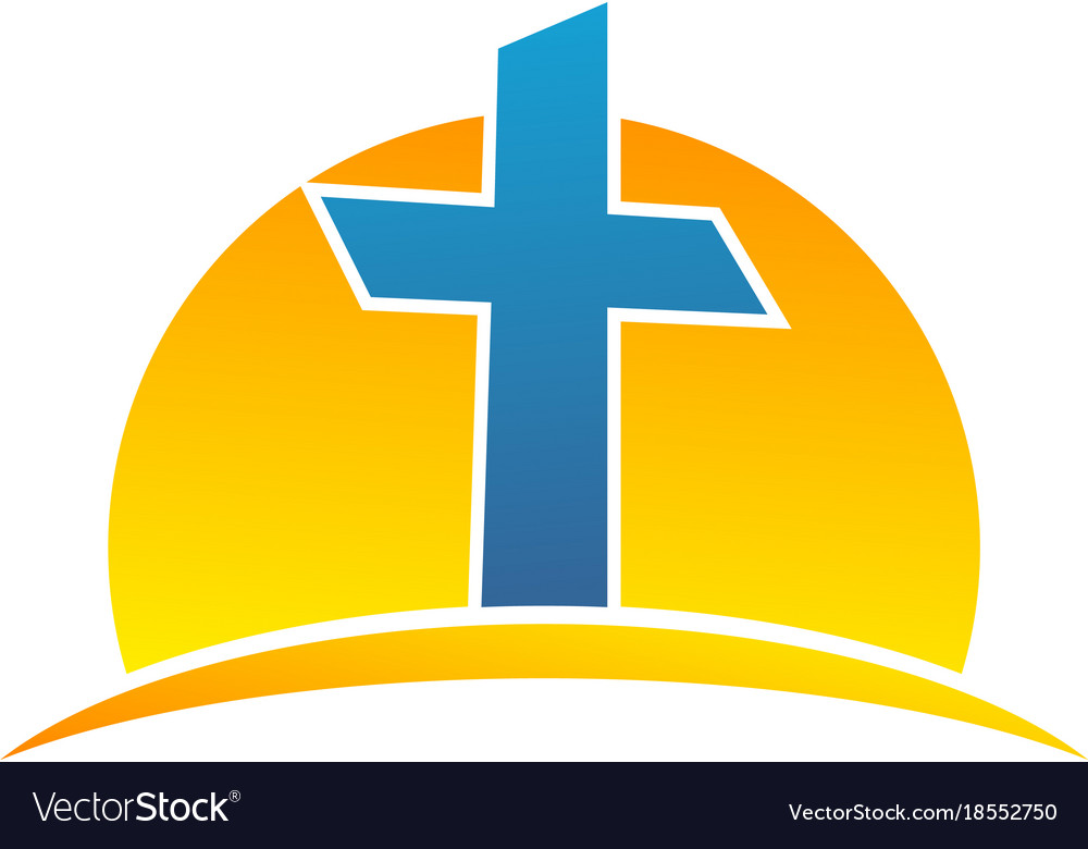 Sun And Symbol Christian Cross Logo Royalty Free Vector