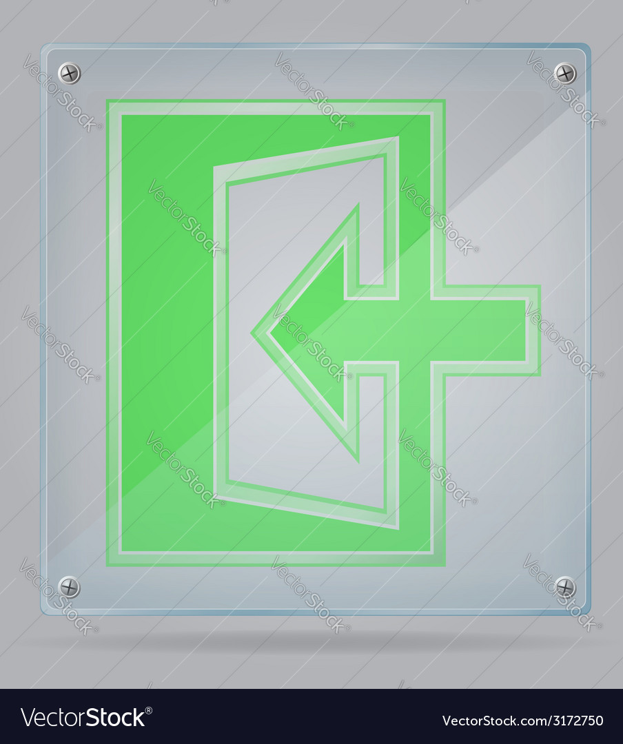 Transparent sign exit on the plate 02 vector image