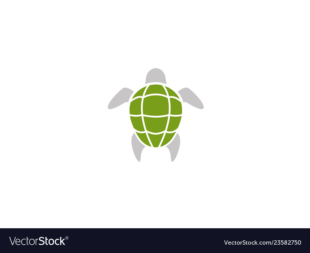 Turtle green shell swimming logo design