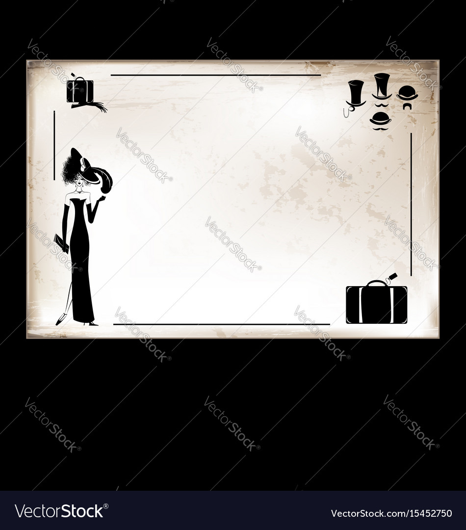 Vintage card lady and suitcase vector image