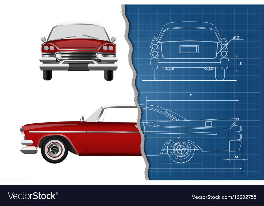 Engineering blueprint of car vintage cabriolet