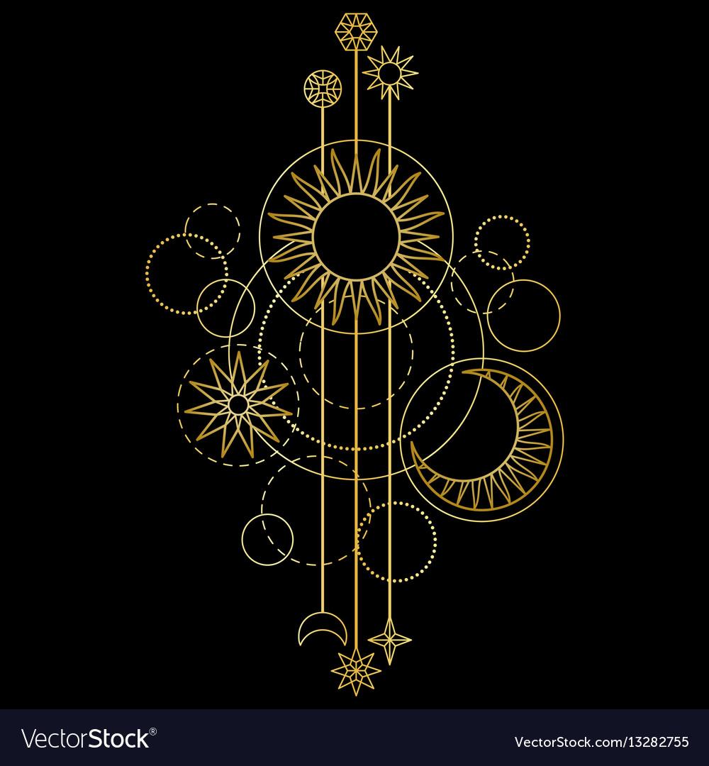 Gold sun moon and star modern pattern