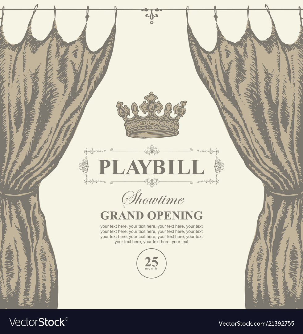 Hand-drawn playbill with theater curtain and crown