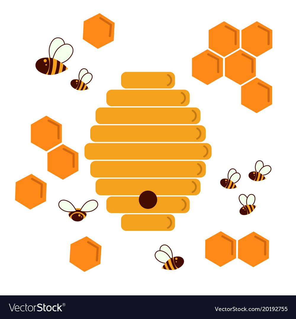 Icon Bee Hive Hexagon Natural Honey Struct Vector Image