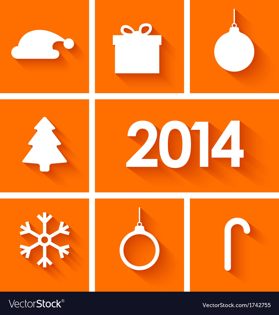 Icons set of new year 2014 on orange background